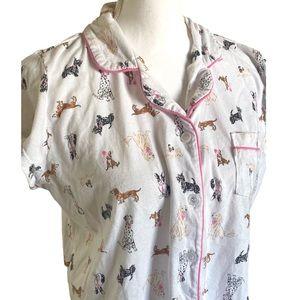 Dearfoams | Women's Dogs' Print Pajama Top Size L